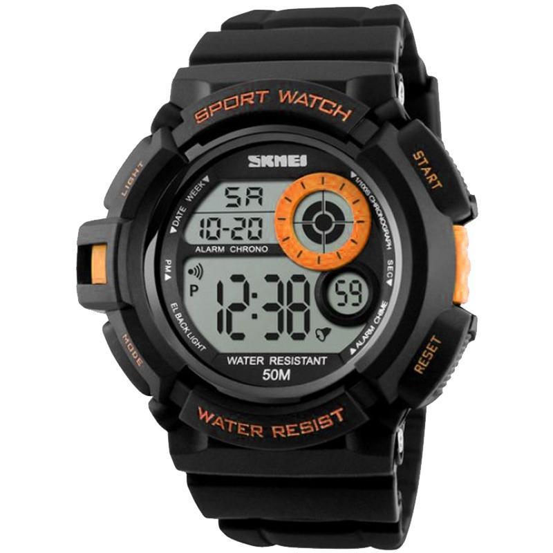 Годинник Skmei Мод.1222 (підсвічування: 7 кольорів), чорний-помаранчевий, в металевому боксі