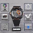 Годинник Skmei Мод.1222 (підсвічування: 7 кольорів), чорний-помаранчевий, в металевому боксі, фото 2