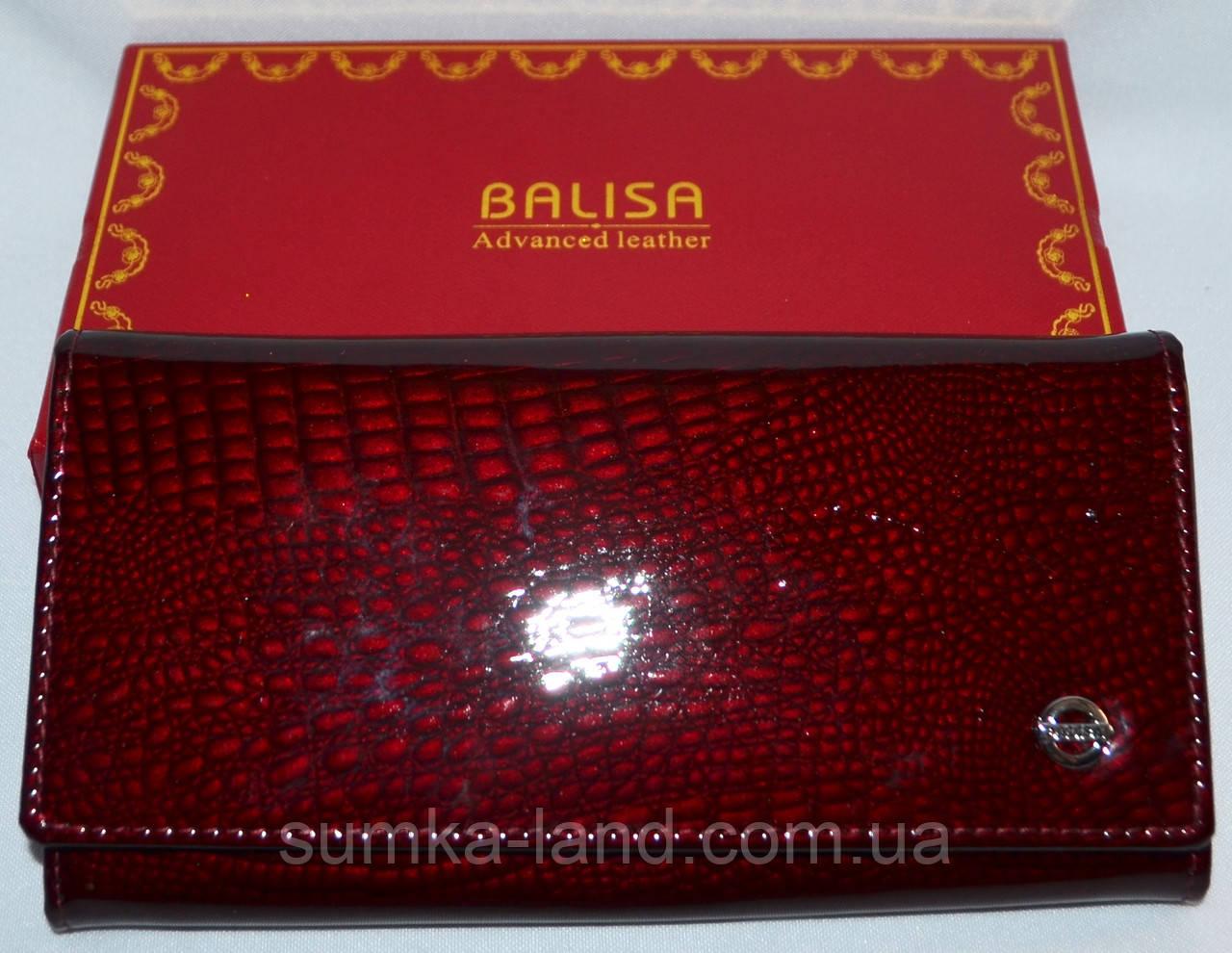 850f05e15bc6 Женский лаковый кошелек Balisa из натуральной кожи на кнопке (бордо) -  SUMKA-LAND