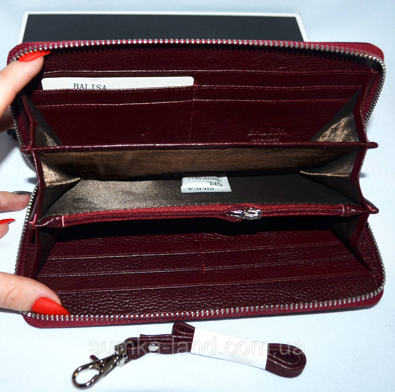 95744079e1e8 Женский лаковый кошелек Balisa из натуральной кожи на змейке (бордо), фото 2