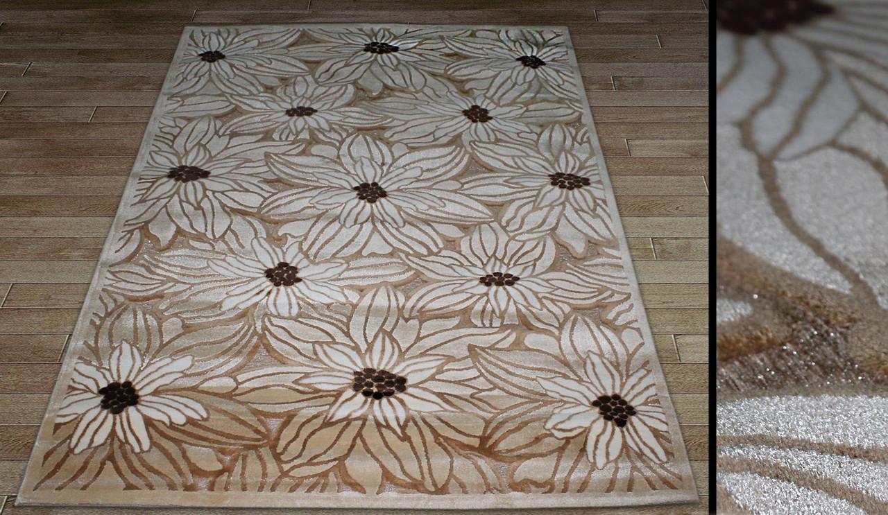 """Акриловий килим """"Лілії"""" колір бежевий. Килимова доріжка купити"""