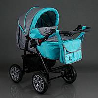 Детская коляска 2в1 Viki Karina Victoria Gold бирюза/серый
