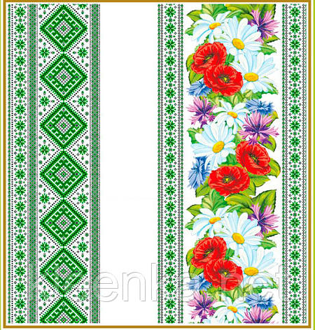 Скатерть на стол Тонкая Вышиванка зеленая, фото 2