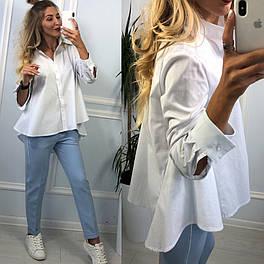 Новинка! Женская белая рубашка хлопковая рубашка с хвостом