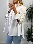 Новинка! Женская белая рубашка хлопковая рубашка с хвостом, фото 2