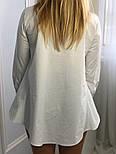 Новинка! Женская белая рубашка хлопковая рубашка с хвостом, фото 4