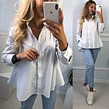Новинка! Женская белая рубашка хлопковая рубашка с хвостом, фото 5