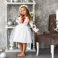 Вышитое платье с розочками для девочки с пышной фатиновой юбкой из  натуральной ткани Розочка 6- ca562d4789399