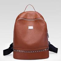 Рюкзак женский кожзам с заклепками коричневый, фото 1