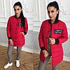 Женская демисезонная куртка на кнопках с довязами 40KU99