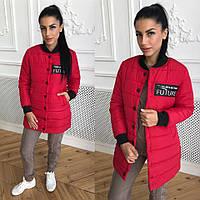 Женская демисезонная куртка на кнопках с довязами 40KU99, фото 1