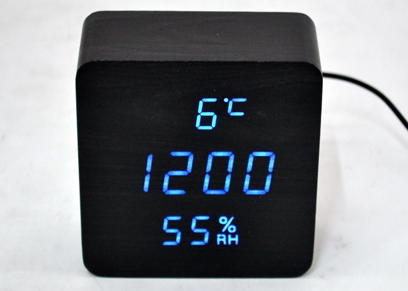 Настольные часы с синей подсветкой+термометр VST-872S-5