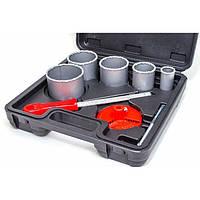 Набор корончатых сверл для плитки 5 ед. 33-83 мм, вольфрам. напыление + напильник и чемодан INTERTOOL SD-0428