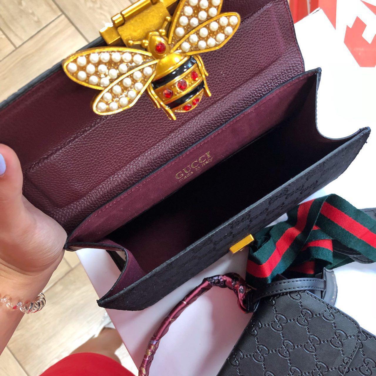 ac77580ec3ae Женская сумка Gucci черная с бордовой ручкой LB0041: продажа, цена в ...