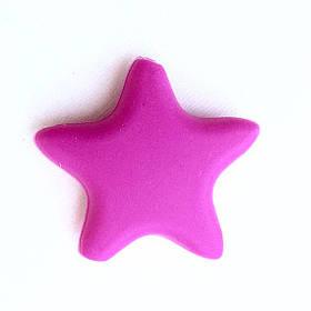Звезда  острокон. (малина), бусины из пищевого силикона