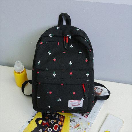 Рюкзак женский городской цветочный Черный