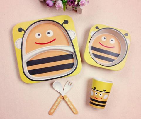 Набор детской бамбуковой посуды для еды, 5 предметов - Пчёлы