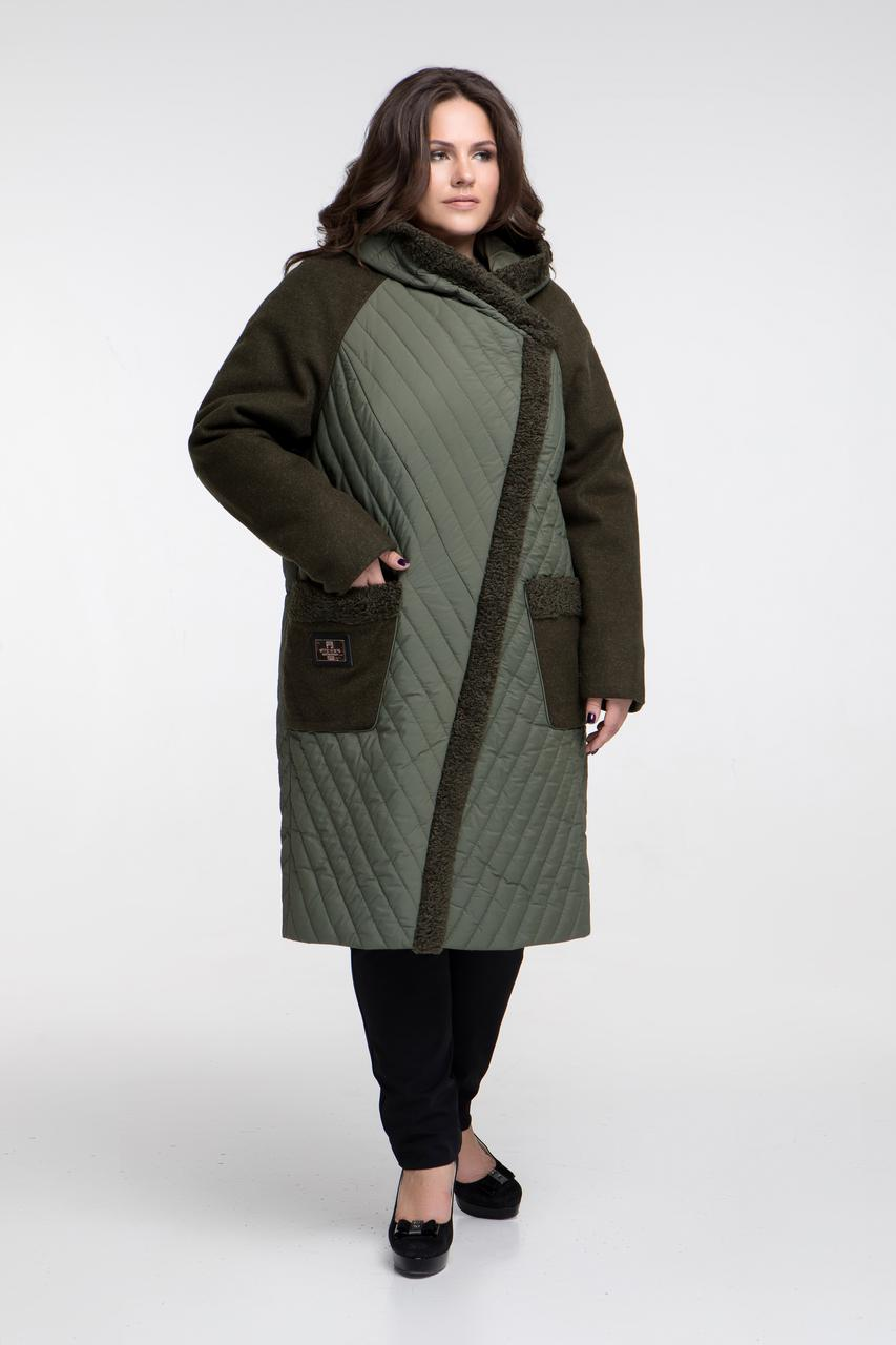 Зимнее комбинированное пальто каракуль, Арт. 646 (р.48-66)