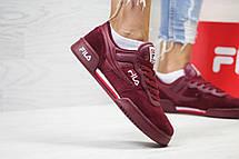Женские,подростковые кроссовки Fila,бордовые, фото 3