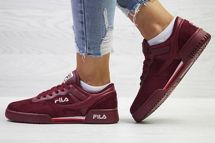 Женские,подростковые кроссовки Fila,бордовые, фото 2