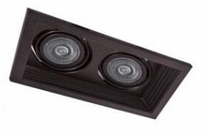 Точечный карданный регулируемые светильник DLT202 2х MR16 черный Код.59340