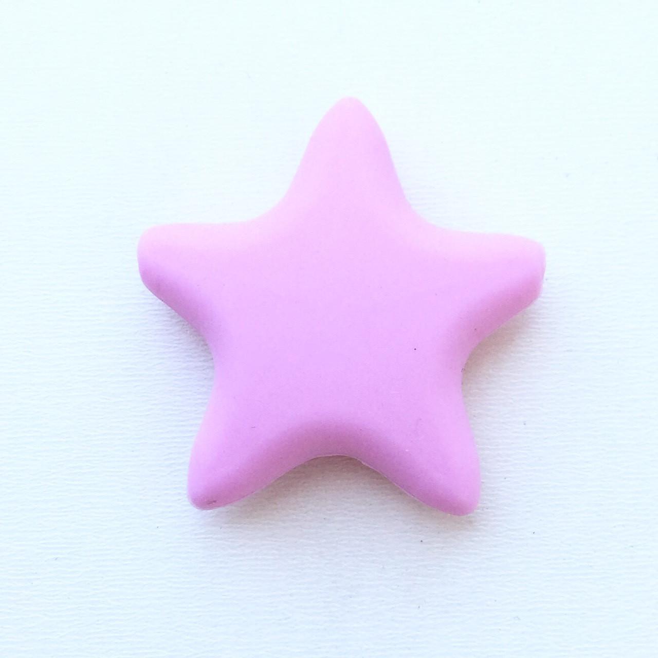 Звезда  острокон. (розовая), бусины из пищевого силикона