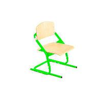 Детский стул с переменной высотой, с зелеными ножками + дерево