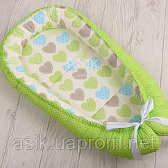 Кокон-гнёздышко для младенца Asik Сердечка с горошком cалатовые и голубые (КГ-2)