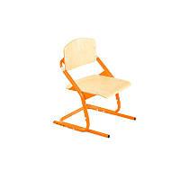 Ученический регулируемый стул цвета дерево с оранжевыми ножками