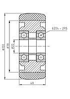Колесо стабилизирующее для штабелера и электротележки 100/040/5/20 B