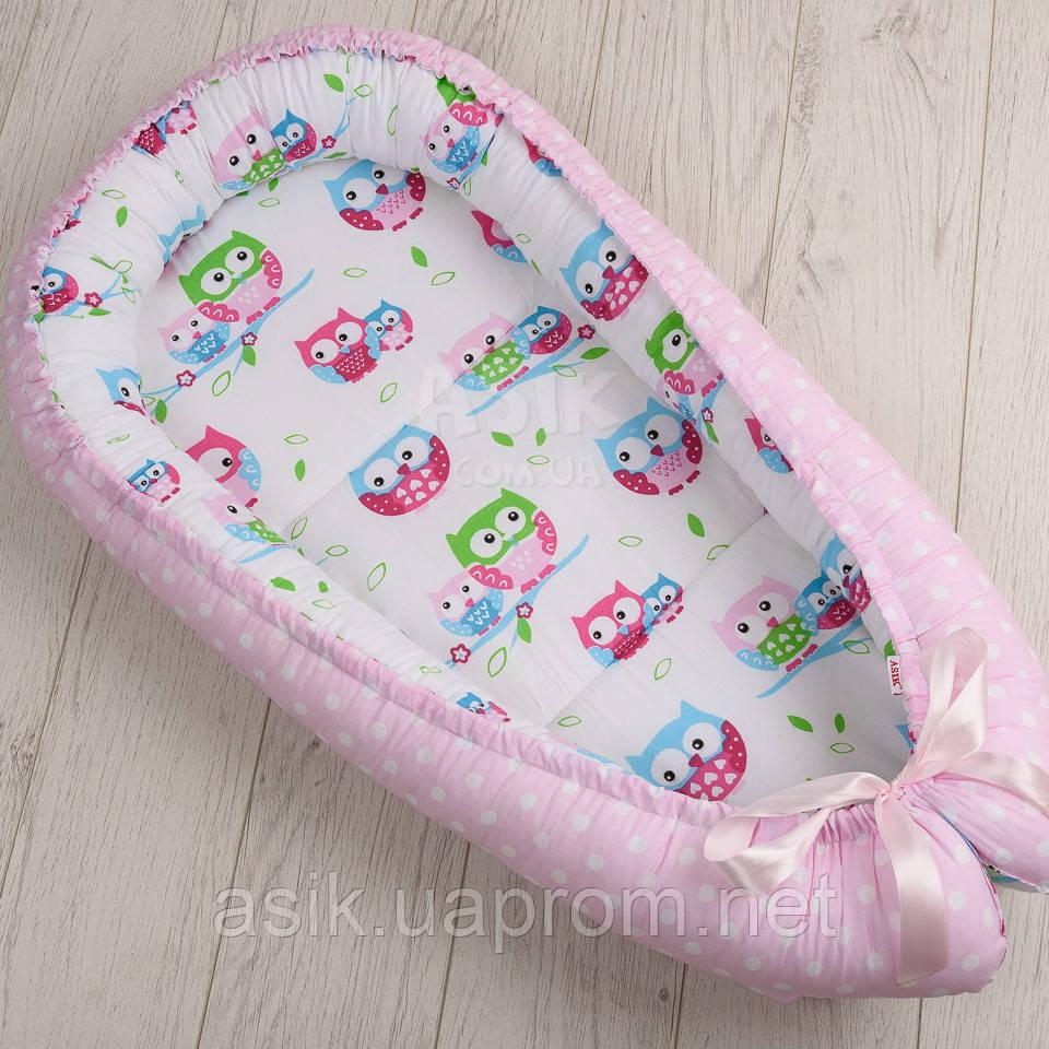 Кокон-гніздечко для немовляти Asik Сови на синій гілці і горошок на рожевому (КГ-4)