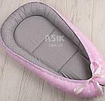 Кокон-гнёздышко для младенца Asik Звёзды на розовом и горошек на сером (КГ-5)