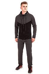 Мужской спортивный костюм черно-серого цвета с капюшеном бренда Atletic от производителя AV Sportswear