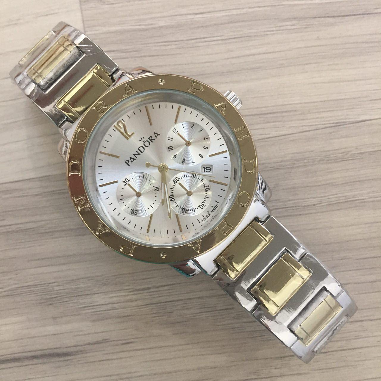 f811fd9c93bd Женские наручные часы Pandora (Пандора), серебристо - золотой корпус и  серебристый циферблат