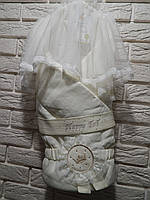 Одеяло-конверт на синтепоне с вуалью молочного цвета ТМ Happy Tot