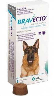 Bravecto 20-40кг (таблетки от блох и клещей)