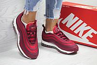 Женские кроссовки Nike Air Max 97 бордовые  (Реплика ААА+)