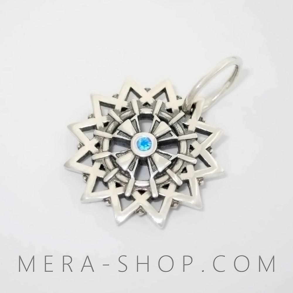 Звезда Эрцгаммы с топазами голубыми - двухсторонний амулет Эрцгамма из серебра 925 пробы (21 мм, 4.3 г)