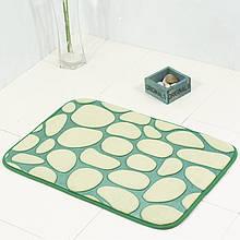 Плюшевый коврик «Галька» 40×60 см зеленый биколор