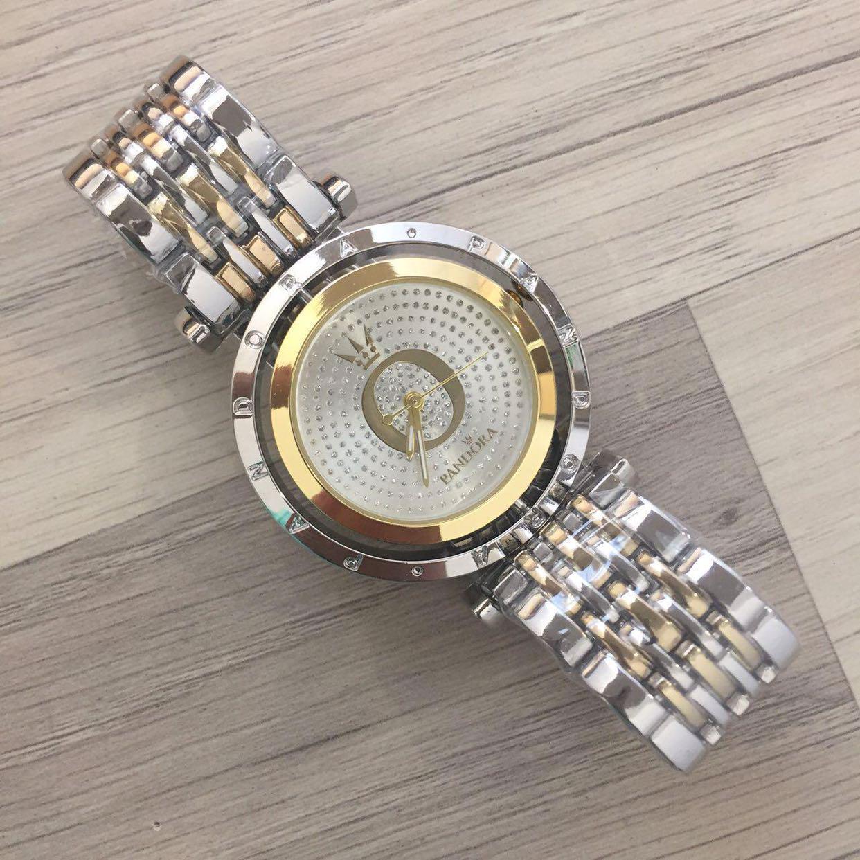 0a3aecc78cc1 Женские наручные часы Pandora (Пандора), серебристо - золотой корпус и  белый циферблат