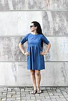 Джинсовое платье для беременных и кормящих мам в горошек