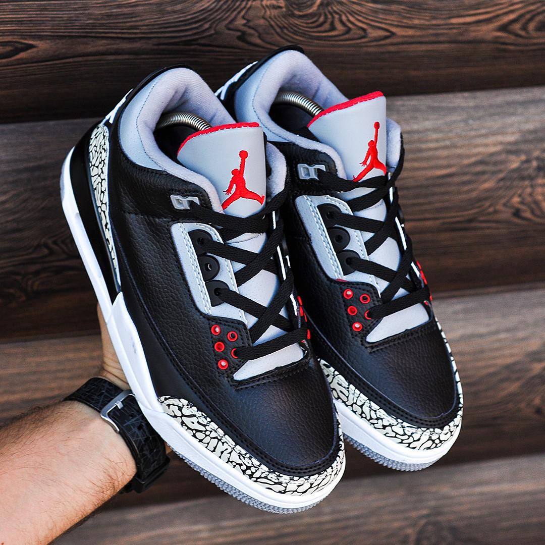 Мужские Кроссовки  в стиле Nike Air Jordan 3 black and white