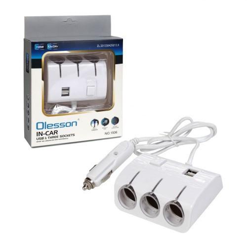 Разветвитель прикуривателя 3 гнезда 2 USB 222