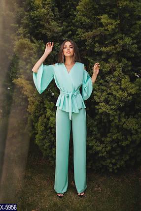 Брючный женский мятный костюм, фото 2