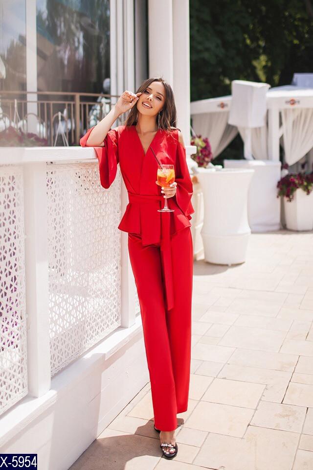 28ca3247ad3 Красный брючный костюм женский - Интернет-магазин одежды и обуви  Bebest-Style в Одессе