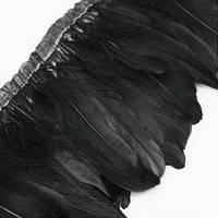 Перьевая тесьма из гусиных перьев. Цвет Черный. Перо 16-20см. Цена за 0,5м.