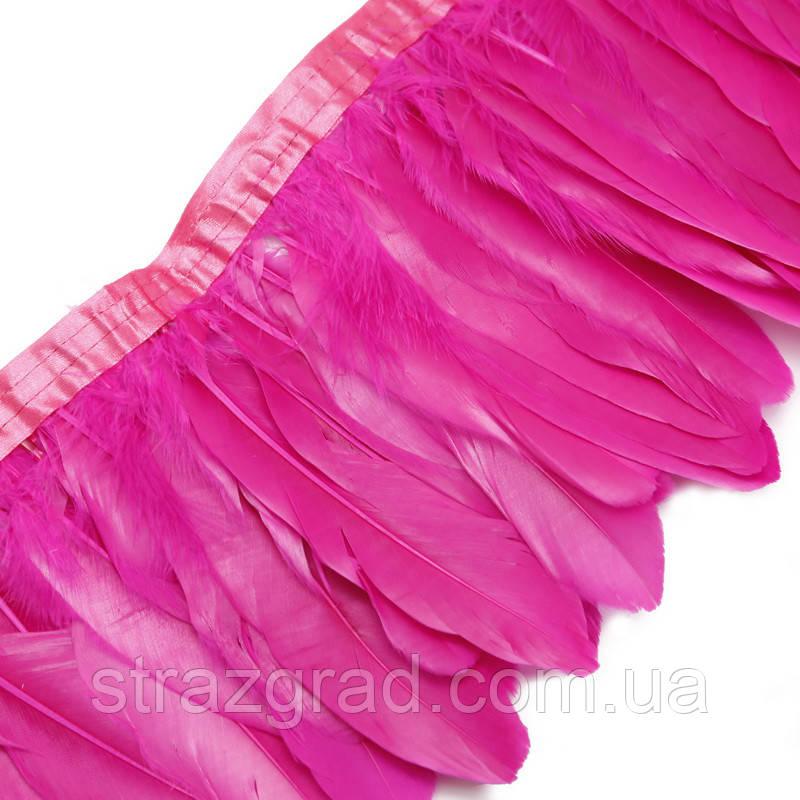 Перьевая тесьма из гусиных перьев. Цвет Фуксия. Перо 16-18см. Цена за 0,5м.