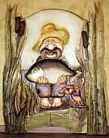 """Резная картина из дерева """"Рыбак"""""""