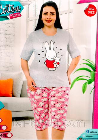 c77e711ac9c2e Пижама большие размеры футболка и капри хлопок разные цвета Cotton More №  56060