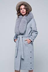 Зимнее пальто «Нинель» светло-серое